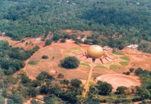 The Matrimandir in Auroville, 'spiritual center' of the town where you can paractice meditation.